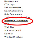 Building Regulations Note for Partial Fill Cavity Wall